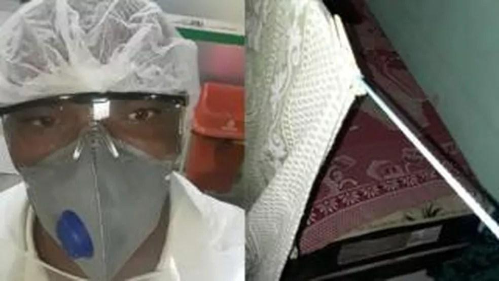 O técnico em enfermagem Joseildo dorme no chão do lado de fora de casa com medo de contagiar a mãe; ele não tem dinheiro para pagar um quartinho — Foto: Arquivo pessoal