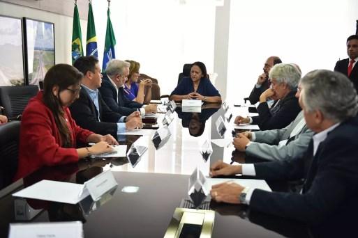 Fátima Bezerra se reuniu com senadores e deputados federais para tratar da questão financeira do Rio Grande do Norte — Foto: Elisa Elsie