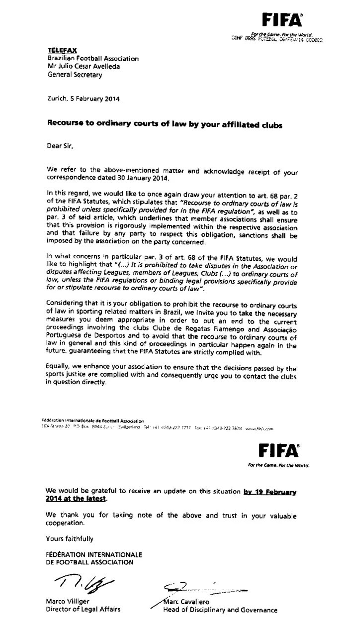 carta da CBF para fifa por conta do caso da Portuguesa (Foto: FIFA)