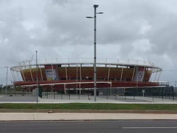 Quadra de tênis do Parque Olímpico (Foto: Kathia Mello/G1)