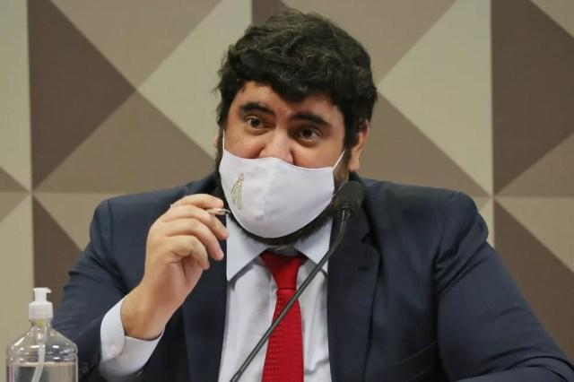 Marconny Albernaz, apontado como lobista da Precisa, depôs à CPI na quarta (15) — Foto: Fátima Meira/Futura Press/Estadão Conteúdo
