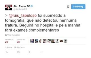Twitter São Paulo Luis Fabiano (Foto: reprodução)