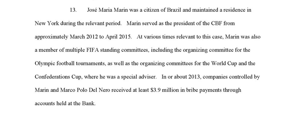 Trecho de confissão do banco Julius Baer cita Marin e Del Nero — Foto: Reprodução
