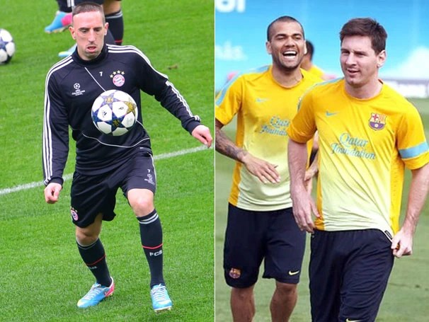 Os craques do Bayern e do Barcelona treinam para partida de terça (Foto: AFP/Reprodução: Globoesporte.com)