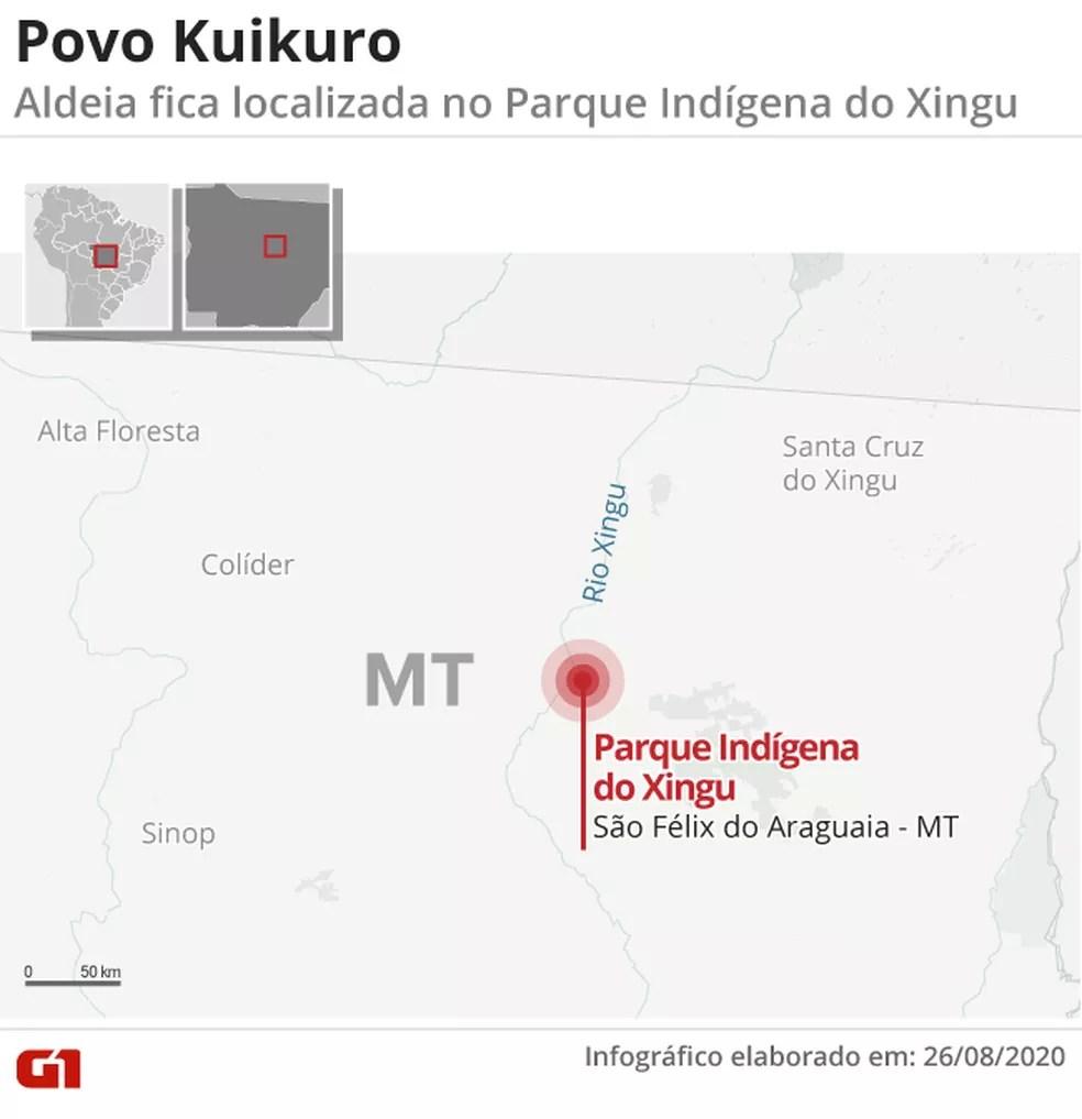 Localização do Parque Indígena do Xingu — Foto: Juliane Souza/G1