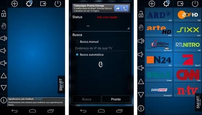 Telas do app Smart TV Remote, da Samsung (Foto: Reprodução/Raquel Freire)