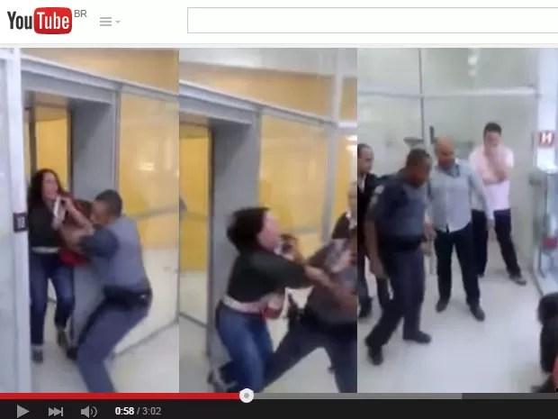 PM puxou com força a médica em agência na Vila Olímpia (Foto: Reprodução/YouTube)