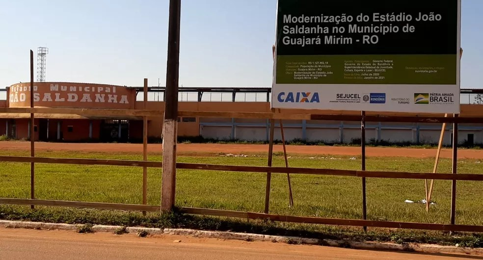 Estádio João Saldanha, em Guajará Mirim passa por reformas de modernização — Foto: Lena Mendonça/Rede Amazônica