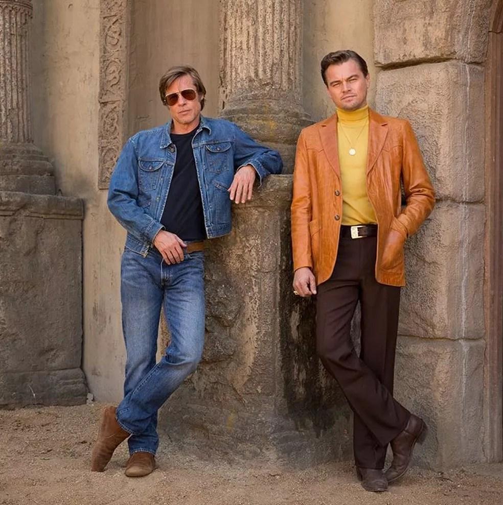 Brad Pitt e Leonardo DiCaprio em primeira foto do filme 'Once upon a time in Hollywood', de Quentin Tarantino (Foto: Reprodução/Instagram/Leonardo DiCaprio)