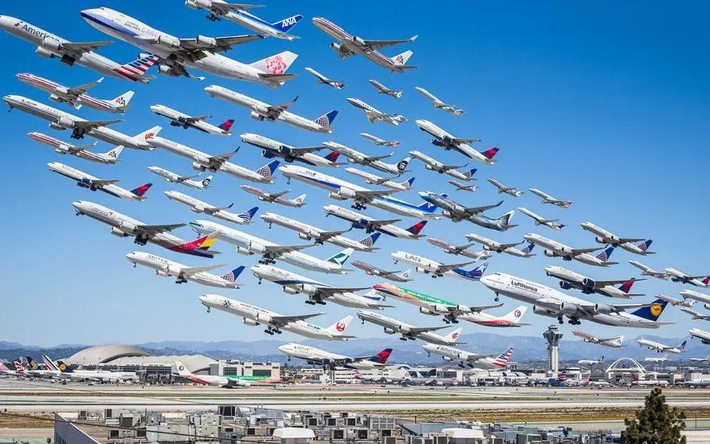 Aviões no LAX (Aeroporto de Los Angeles (Foto: Mike Kelley)