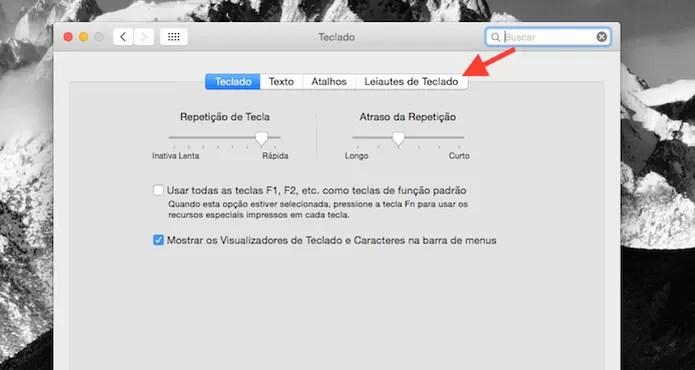 Acessando a configuração de layout de teclado do Mac OS X (Foto: Reprodução/Marvin Costa)
