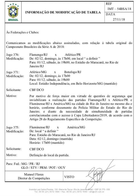 Documento da CBF oficializando as mudanças — Foto: Reprodução