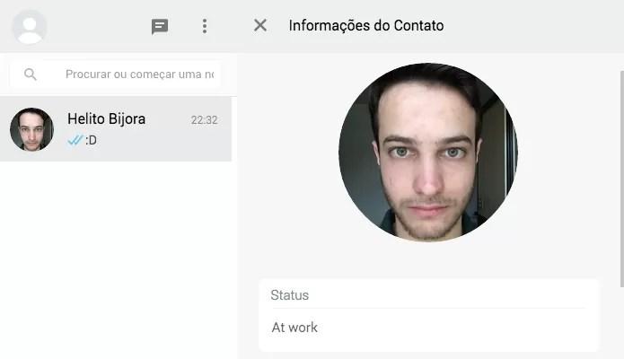 Informações sobre o contato (Foto: Reprodução/Helito Bijora)