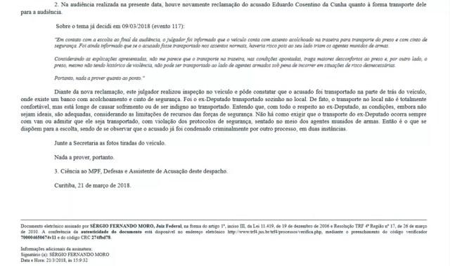 Após reclamações, Moro afirma que veículo que leva Eduardo Cunha para audiências na Justiça Federal de Curitiba 'longe de causar sofrimento' (Foto: JFPR/Reprodução)
