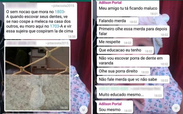 Mensagens trocadas em grupo de mensagens, antes de crime em Samambaia, no DF (Foto: WhatsApp/Reprodução)