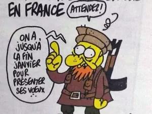 Ilustração mais recente de Charb, morto no ataque à revista Charlie Hebdo (Foto: Reprodução/Twitter)