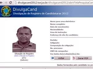 Valdomiro dos Santos é vereador na cidade de Mutuípe, na Bahia (Foto: Reprodução/DivulgaCand TSE)
