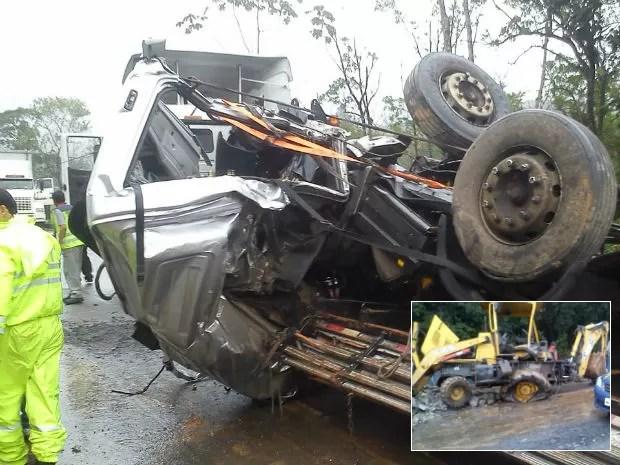 Caminhão sem freio atingiu máquina na pista (Foto: André Buzzi/RBS TV)