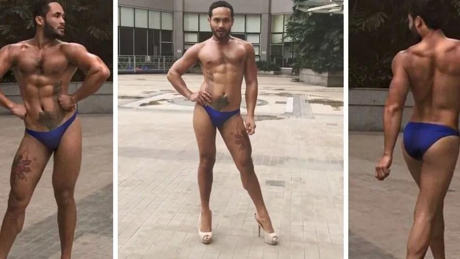 Filipino desfilando s de sunga e salto alto faz sucesso
