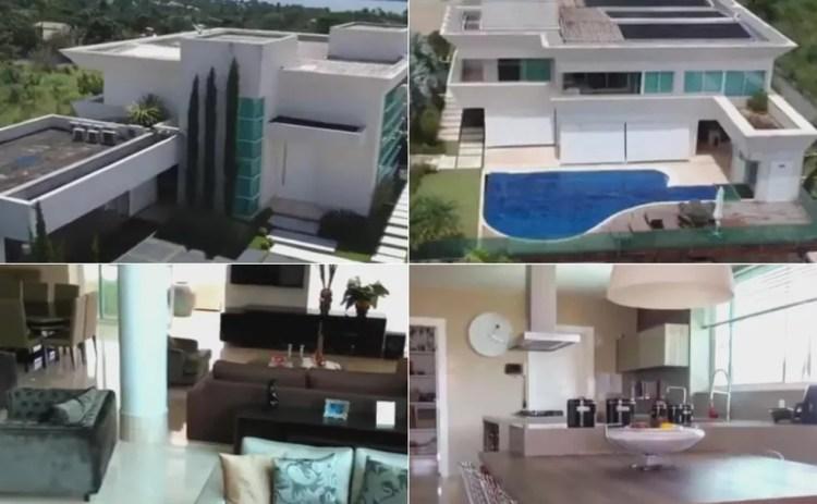 Montagem com fotos do exterior e interior da mansão comprada por Flávio Bolsonaro — Foto: Divulgação