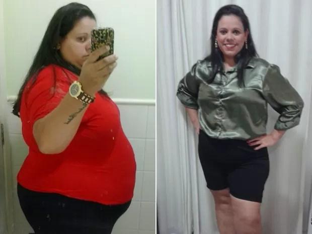 Roberta, de 33 anos, passou de 165 kg para 100 kg em um ano com mudança alimentar (Foto: Roberta Penha da Rosa/Arquivo pessoal)
