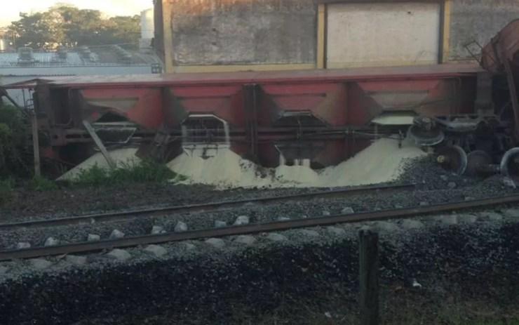 Trem descarrila em Catanduva  (Foto: Arquivo Pessoal)
