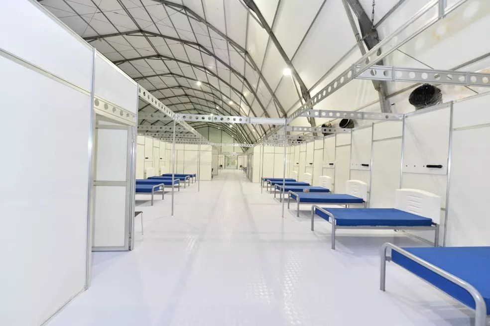 Interior do hospital de campanha de Águas Lindas de Goiás — Foto: Divulgação Ministério da Infraestrutura/Alberto Ruy