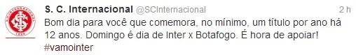Twitter do Inter alfineta Grêmio após eliminação (Foto: Reprodução)