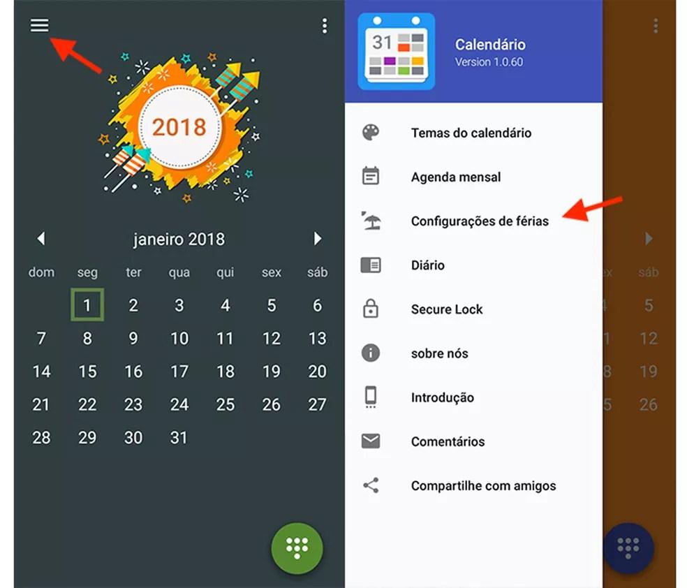 Opção para acessar as configurações de férias do app Feriados 2018 (Foto: Reprodução/Marvin Costa)