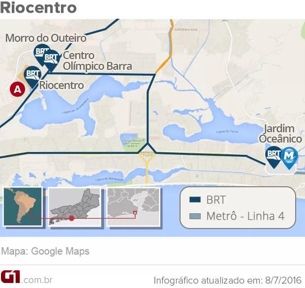 Mapa do Riocentro (Foto: Arte G1)