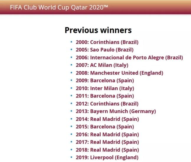 Lista dos campeões do mundo divulgada pela Fifa — Foto: Reprodução