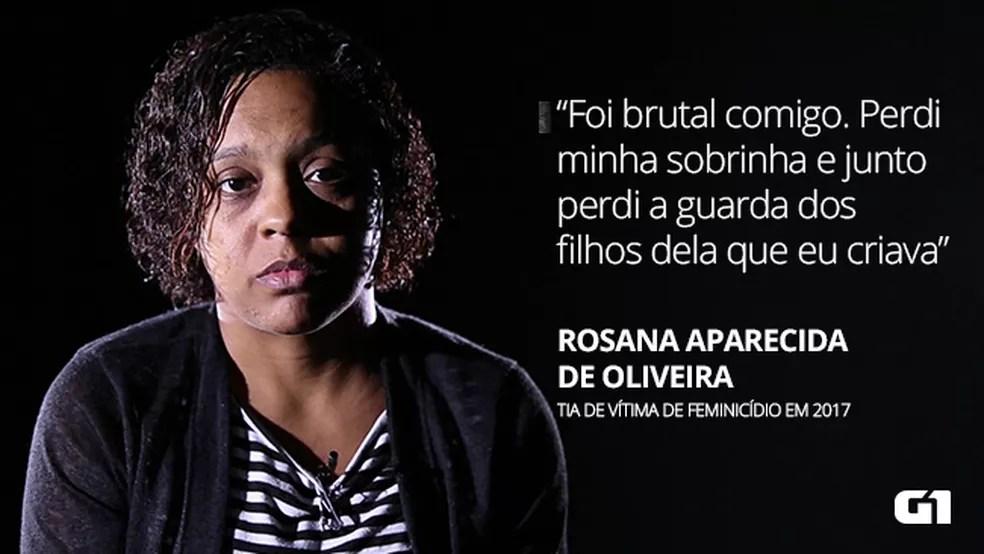 Rosana Oliveira: tia de Paloma Santos, vítima de feminicídio morta na frente dos filhos em 2017 — Foto: Marcos Serra Lima
