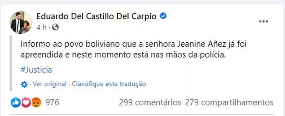 Post do ministro de Governo Eduardo Del Castillo Del Carpio — Foto: Reprodução / Eduardo Del Castillo Del Carpio / Facebook