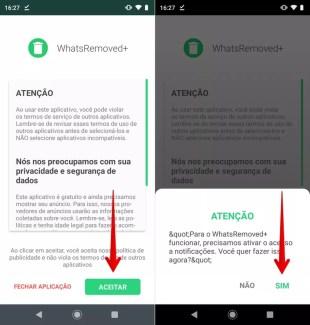 Configuração inicial do WhatsRemoved+, aplicativo para ver mensagens apagadas do WhatsApp — Foto: Reprodução/Helito Beggiora