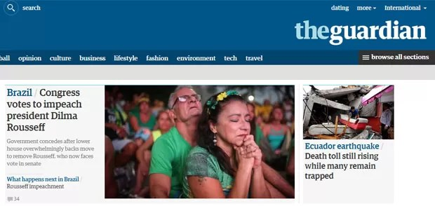 O jornal britânico The Guardian noticiou o resultado da votação assim que o número necessário para o prosseguimento do processo foi alcançado (Foto: Reprodução/The Guardian)