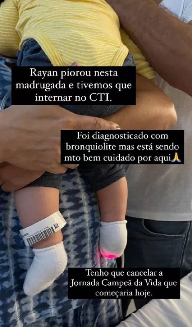 Rayan, filho de Malvino Salvador e Kyra Gracie, é internado (Foto: Reprodução/Instagram)
