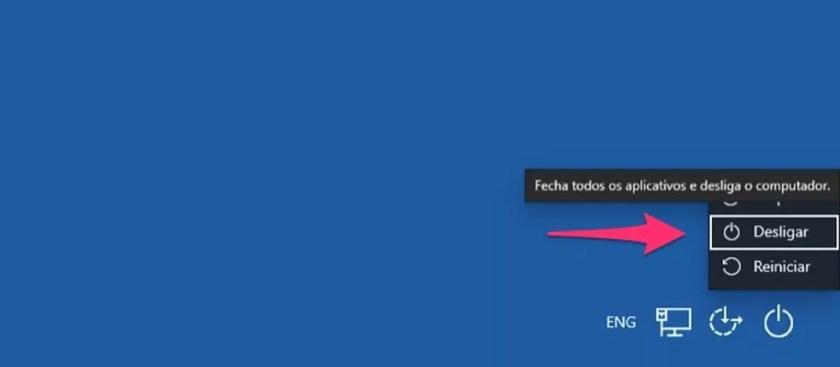 Ação para desligar o PC usando apenas o teclado — Foto: Reprodução/Marvin Costa