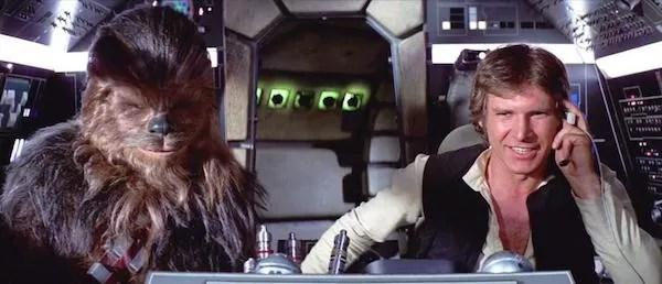 Han Solo e Chewbacca pilotando a Millennium Falcon (Foto: Reprodução)