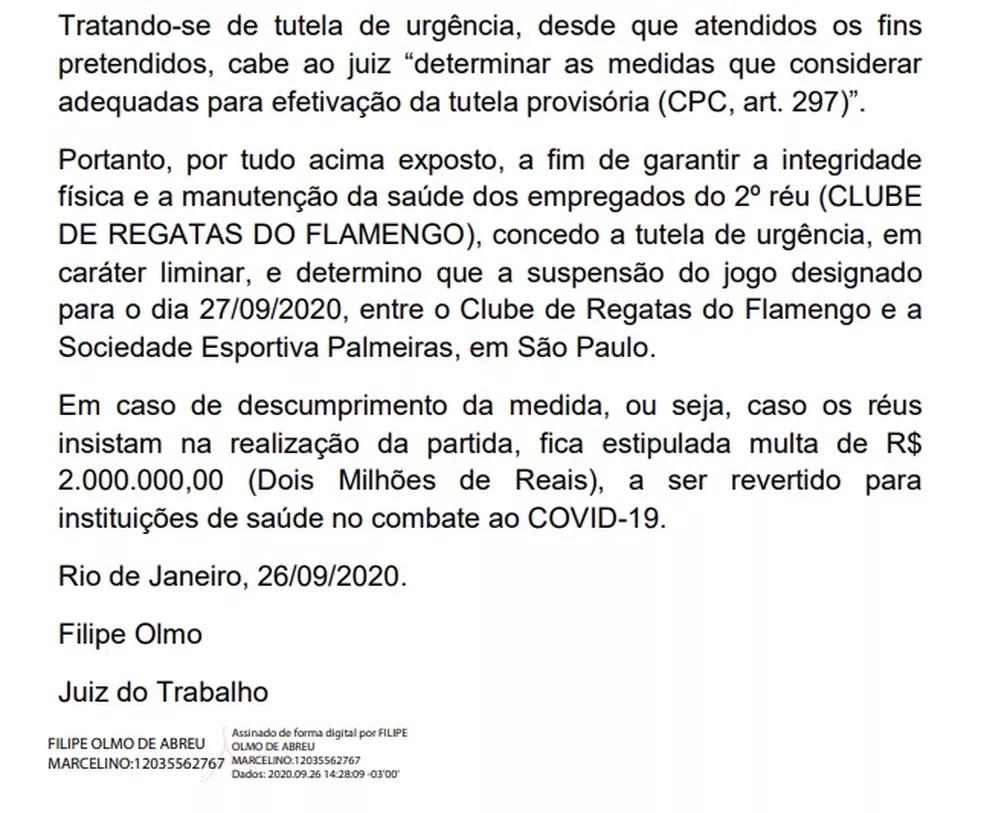 Trecho final da decisão que suspendeu a partida entre Palmeiras e Flamengo — Foto: Reprodução
