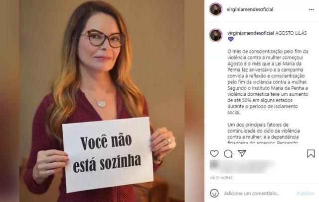 Primeira-dama apagou post no dia em que indiciamento ganhou repercussão e depois repostou — Foto: Instagram/Reprodução