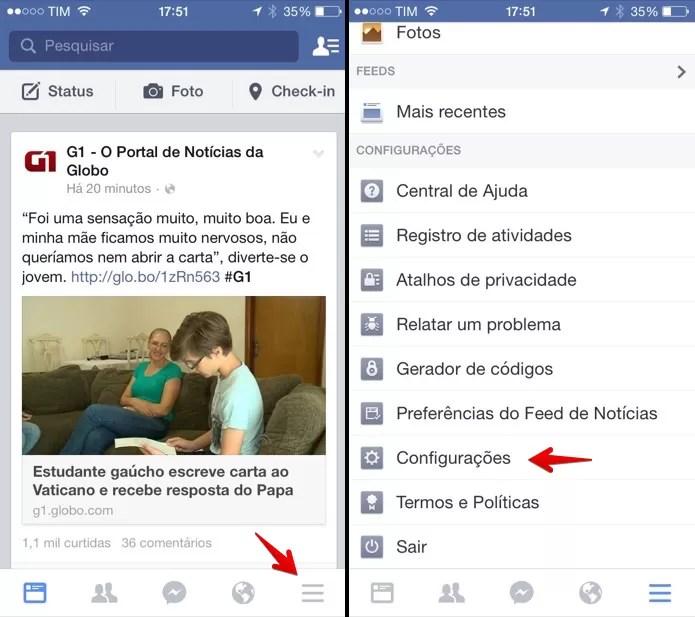 Abra o aplicativo do Facebook e acesse as configurações. (Foto: Reprodução/Helito Bijora)