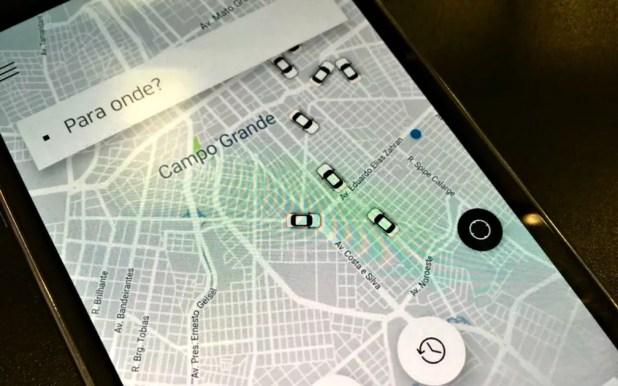 Aplicativo da Uber mostra Campo Grande (Foto: Paulo Fernandes / G1 MS)