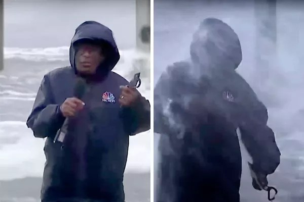 67-year-old reporter Al Roker is hit by waves caused by Hurricane Ida (Photo: youtube reproduction)