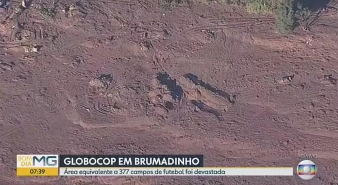 Local da tragédia é visto do GloboCop na manhã desta quinta — Foto: Reprodução