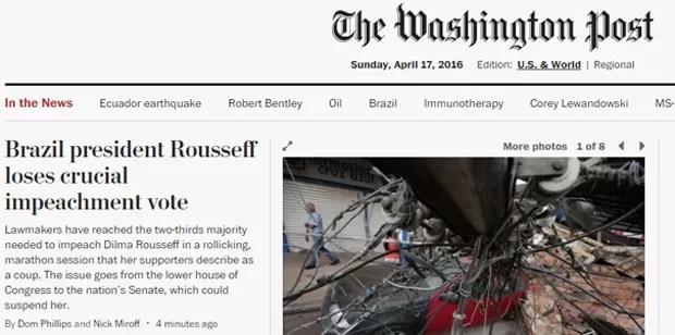 A derrota de Dilma também foi notícia no The Washington Post (Foto: Reprodução/The Washington Post)