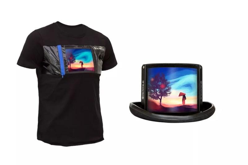 Telas dobráveis da Royole em camiseta e chapéu — Foto: Divulgação