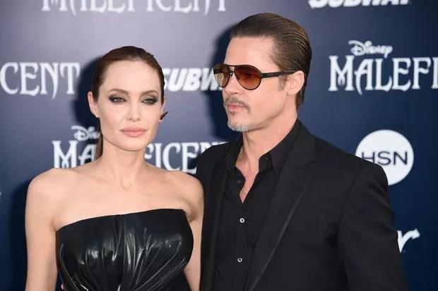 Angelina Jolie e Brad Pitt na premiere de 'Malévola' em maio de 2014 (Foto: AFP)
