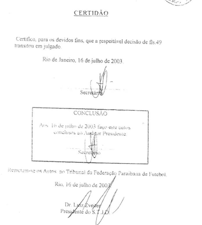 Certidão obtida pelo Botafogo-PB em 2003 mostra que o caso foi transitado e julgado no STJD — Foto: Reprodução