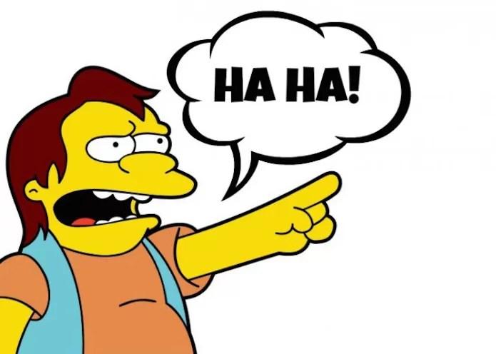 Nelson, personagem dos Simpsons, com o famoso bordão Ha-Ha (Foto: Reprodução/Fox)