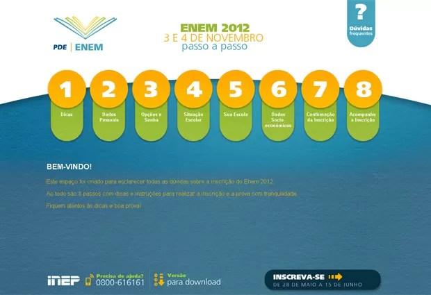 O Inep criou um passo a passo para facilitar o processo de inscrições do Enem 2012 (Foto: Reprodução)